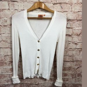 Tory Burch Off White Cardigan Small Gold Buttons